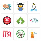 Set Of 9 simple editable icons such as first birthday, olive tree, virgo. Truck company, recycle, cancel, penguin, doll, synergy, can be used for mobile, web Royalty Free Stock Photography