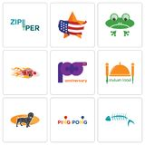 Set Of 9 simple editable icons such as fish skeleton, ping pong, dachshund. Indian food, 100th anniversary, hot rod, frog, us map, zipper, can be used for Royalty Free Stock Photography
