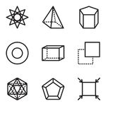 Set Of 9 simple editable icons such as Fit, Pentagon, Icosahedron, Layer, Hexahedron, Circle, Cylinder, Pyramid, Ellipse, pixel pe. Set Of 9 simple editable Stock Image