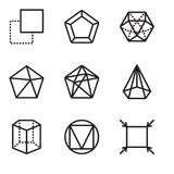Set Of 9 simple editable icons such as Fit, Triangle, Cylinder, Cone, Dodecahedron, Pentagon, Layer, pixel perfect vector icon pac. Set Of 9 simple editable Royalty Free Stock Photography