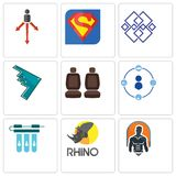 Set Of 9 simple editable icons such as fitness, rhino, water filter. Tidy, car seat, stealth bomber, generic, s, approach, can be used for mobile, web Stock Photography