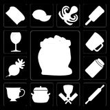 Set of Flour, Rolling pin, Butcher, Pot, Tea, Honey, Radish, Mug. Set Of 13 simple editable icons such as Flour, Rolling pin, Butcher, Pot, Tea, Honey, Radish Royalty Free Illustration