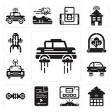 Set of Flying car, Eco house, Hologram, Audio file, Hoverboard, Car, Tree, Jet pack icons. Set Of 13 simple editable icons such as Flying car, Eco house Stock Image