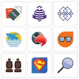 Set Of 9 simple editable icons such as focus group, s, car seat. Nerd glasses, taurus professional, betta fish, generic, purple cobras, homework, can be used Stock Photos