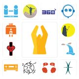 Set of folded hands, elastic, inquiry, earthquake, set top box, waterfall, tracker, shepherd, bank branch icons. Set Of 13 simple editable icons such as folded Stock Images