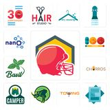 Set of football helmet, statement, towing, rhino, camper, churros, basil, 100 year, nano icons. Set Of 13 simple editable icons such as football helmet Royalty Free Stock Image