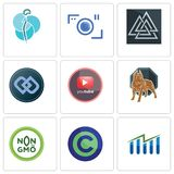 Set Of 9 simple editable icons such as free stock, copyright free, non gmo. Pit bull, pinetree, double d, valknut, camera, neurosurgery, can be used for mobile Royalty Free Stock Photos