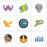 Set Of 9 simple editable icons such as free stock, nova, pit bull. Mms, copyright free, phoenix, shield, shoe with wings, wn, can be used for mobile, web Royalty Free Stock Images