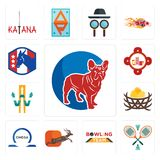 Set of french bulldog, badminton, bowling team, antelope, omega, bird nest, w with arrow, fire station, democratic party icons. Set Of 13 simple editable icons Royalty Free Stock Image