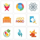 Set Of 9 simple editable icons such as fried chicken, flame, homeopathy. Window cleaning, go food, couch, celtic knot, chili pepper, can be used for mobile Royalty Free Stock Photography