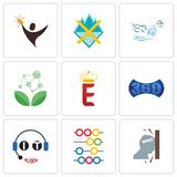 Set Of 9 simple editable icons such as frustration, abacus, it helpdesk. 360 image, e crown, antioxidant, waterfall, crossed skis, lucky draw, can be used for Stock Image