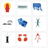 Set Of 9 simple editable icons such as ganesh, inquiry, sprinkler. Elastic, vocabulary, page turn, discussion board, buffering, fire hydrant, can be used for Stock Images