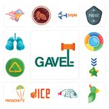 Set of gavel, , truck company, dice, parachute, military, recycle reuse uce, lungs icons. Set Of 13 simple editable icons such as gavel, , truck company, dice Stock Photo