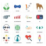 Set of gender equality, cholesterol, snooker, carwash, it helpdesk, preschool, turbo, step 1, antioxidant icons. Set Of 16 simple editable icons such as gender Royalty Free Stock Image