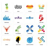 Set of generic, logistics company, sunday, snowboard, deer head, , metropolis, hot dog, olive oil icons. Set Of 16 simple editable icons such as generic Royalty Free Stock Image