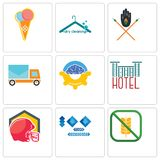 Set Of 9 simple editable icons such as gluten free, 100 year anniversary, football helmet. Hotel, program management, post car, tribe, dry cleaning, icecream Stock Photos