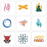 Set Of 9 simple editable icons such as go food, celtic knot, butcher shop. Flame, catering services, import export, firemen, baguette, pregnancy, can be used Stock Photo