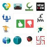 Set of good bad, jain, rocket, hipaa, free brain, education, hoopoe, public relations, sports fan icons. Set Of 13 simple editable icons such as good bad, jain Stock Images