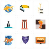 Set Of 9 simple editable icons such as 100 guarantee, viper, hip hop. Chess knight, legal, oil derrick, rock n roll, toucan, goldfish, can be used for mobile Stock Images