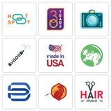 Set Of 9 simple editable icons such as hair studio, sparta, minimal b. Moose, made in usa, vape, dslr, 30 year, hotspot, can be used for mobile, web Royalty Free Stock Photography