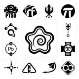 Set of hanamaru, html infinity, telegram, carcinogen, n s e w, fire dept, chemical, doctor, chemical icons. Set Of 13 simple editable icons such as hanamaru Royalty Free Stock Images