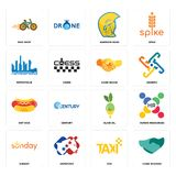 Set of hand shaking, taxi, sunday, olive oil, hot dog, shake, metropolis, warrior head, bike shop icons. Set Of 16 simple editable icons such as hand shaking Royalty Free Stock Photos