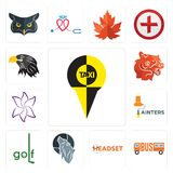 Set of, headset, wolf, golf, painters, lily flower, bear head, eagle head icons. Set Of 13 simple editable icons such as, headset, wolf, golf, painters, lily Stock Image