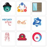 Set Of 9 simple editable icons such as heating cooling, motorcycle club, long hair Royalty Free Stock Image
