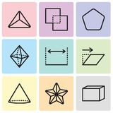 Set Of 9 simple editable icons such as Hexahedron, Star, Cone, Transform, Dimensions, Octahedron, Pentagon, Exclude, Triangle, pix. Set Of 9 simple editable Stock Photos