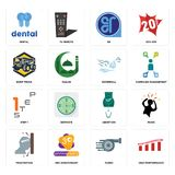 Set of high performance, turbo, frustration, abortion, step 1, waterfall, dump truck, er, dental icons. Set Of 16 simple editable icons such as high performance Royalty Free Stock Photography