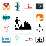 Set of hiker, number players, page turn, cell tower, demo, distributor, dab, 360 degree icons. Set Of 13 simple editable icons such as hiker, number of players Royalty Free Stock Image