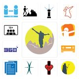 Set of hiker, shepherd, tracker, elastic, specification, set top box, 360 degree, dab, number players icons. Set Of 13 simple editable icons such as hiker Royalty Free Stock Images