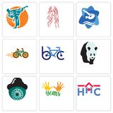 Set Of 9 simple editable icons such as home health care, 10 years, security camera. Bike club, shop, swim and dive, long hair, martial arts, can be used for Stock Photo