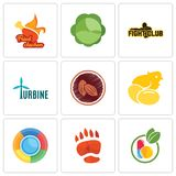 Set Of 9 simple editable icons such as homeopathy, bear paw,. Chick, cacao, turbine, fight club, cabbage, fried chicken, can be used for mobile, web Royalty Free Stock Images