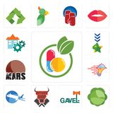 Set of homeopathy, cabbage, gavel, butcher shop, aeroplane, catering services, mars, military, facility icons. Set Of 13 simple editable icons such as homeopathy Royalty Free Stock Photo