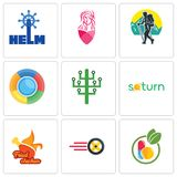 Set Of 9 simple editable icons such as homeopathy, tire business, fried chicken. Saturn, digital tree, trekking, salon, helm, can be used for mobile, web Royalty Free Stock Images