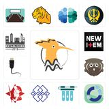 Set of hoopoe, sector, water filter, generic, spartan, free owl, ethernet, new item, established icons. Set Of 13 simple editable icons such as hoopoe, sector Royalty Free Stock Photo