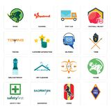 Set of, horse, safety first, lux, girls bathroom, helpdesk, towing, post car, rhino icons. Set Of 16 simple editable icons such as, horse, badminton, safety Stock Photography