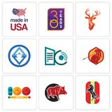 Set Of 9 simple editable icons such as horse, boar, 100 year. Sparta, datacenter, 3, stag head, 30 made in usa, can be used for mobile, web Stock Image