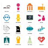 Set of hospitality, next steps, cell tower, 360 degree, request a quote, buffering, live support, bank branch, page turn icons. Set Of 16 simple editable icons Royalty Free Stock Images