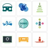 Set Of 9 simple editable icons such as hospitality, set top box, buffering. Travel agent, demo, earthquake, next steps, telecom, vr headset, can be used for Stock Photos