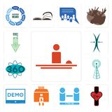 Set of hospitality, tracker, number players, bank branch, demo, cell tower, 360 degree, elastic, cost uction icons. Set Of 13 simple editable icons such as Stock Photos