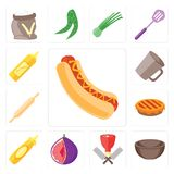 Set of Hot dog, Bowl, Butcher, Fig, Mustard, Pie, Rolling pin, M. Set Of 13 simple editable icons such as Hot dog, Bowl, Butcher, Fig, Mustard, Pie, Rolling pin Vector Illustration