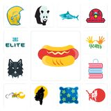 Set of hot dog, cat, pillow, black wolf, chopper, book shop, wolf face, 10 years, the elite icons. Set Of 13 simple editable icons such as hot dog, cat, pillow Stock Photo