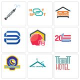 Set Of 9 simple editable icons such as hotel, dry cleaning, volleyball tournament. 20 anniversary, football helmet, minimal b, lodging, hotspot, vape, can be Stock Photos