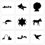 Set Of 9 simple editable icons such as hummingbird, montana, missouri. Donkey, star of david, chameleon, afro, goldfish, jamaica, can be used for mobile, web Stock Image