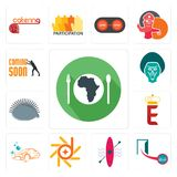 Set of hunger, cash on delivery, kayak, d-star, carwash, e crown, hedgehog, baboon, soon icons. Set Of 13 simple editable icons such as hunger, cash on delivery Stock Images