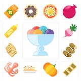 Set of Ice cream, Biscuit, Pumpkin, Risotto, Octopus, Potatoes,. Set Of 13 simple editable icons such as Ice cream, Biscuit, Pumpkin, Risotto, Octopus, Potatoes Vector Illustration
