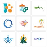 Set Of 9 simple editable icons such as import, firemen, navy anchor. Parachute, catering services, import export, lizard, facility, chemical company, can be Royalty Free Stock Photo