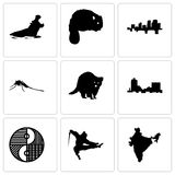 Set Of 9 simple editable icons such as india, ninja, yin yang. Montana, raccoon, mosquito, arkansas, beaver, hippo, can be used for mobile, web Stock Photos
